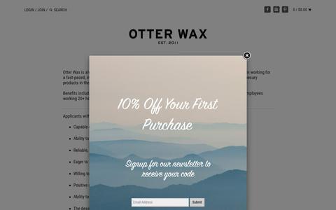 Screenshot of Jobs Page otterwax.com - JOBS – Otter Wax - captured Oct. 20, 2018