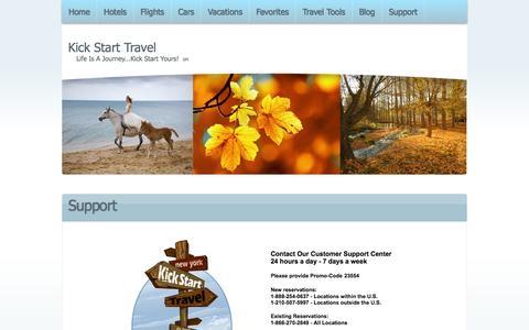 Screenshot of Support Page kickstarttravel.com - Support - captured Oct. 29, 2014