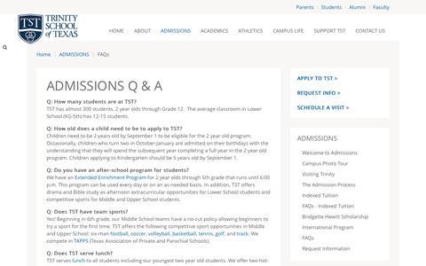 Screenshot of FAQ Page trinityschooloftexas.com - FAQs - captured Aug. 15, 2015