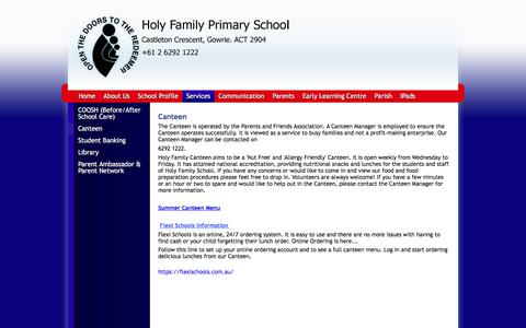 Screenshot of Menu Page holyfamily.act.edu.au - Holy Family Primary School: Canteen - captured June 16, 2016