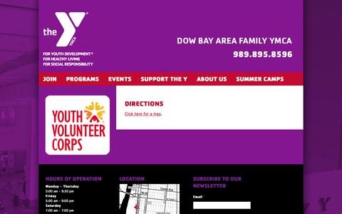 Screenshot of Maps & Directions Page ymcabaycity.org - Directions - Dow Bay Area Family YMCA - captured March 27, 2016