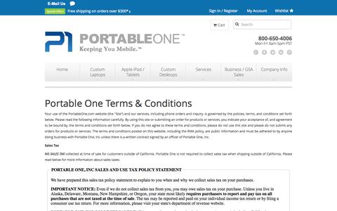 Screenshot of Terms Page portableone.com - Terms And Conditions - captured Sept. 25, 2014