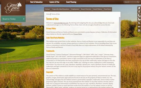Screenshot of Terms Page grandgeneva.com - Terms of Use   Grand Geneva Resort and Spa - captured Sept. 23, 2014