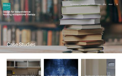 Screenshot of Case Studies Page designforindependence.co.uk - Case Studies - Design for Independence: housing occupational therapy - captured Oct. 12, 2017