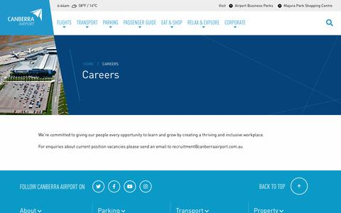 Screenshot of Jobs Page canberraairport.com.au - Careers - Canberra Airport - captured Nov. 4, 2018