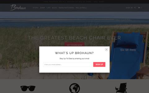 Screenshot of Home Page brohaun.com - Brohaun - Essential Beach Supply - captured Sept. 10, 2015