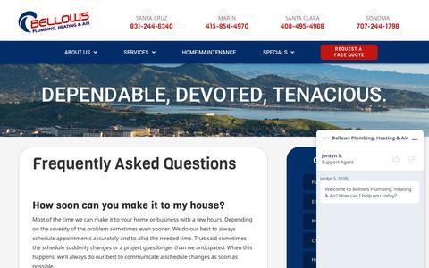 Screenshot of FAQ Page bellowsservice.com - FAQ About Bellows Plumbing, Heating & Air in Santa Cruz, Marin, Santa Clara, and Sonoma - captured June 20, 2019