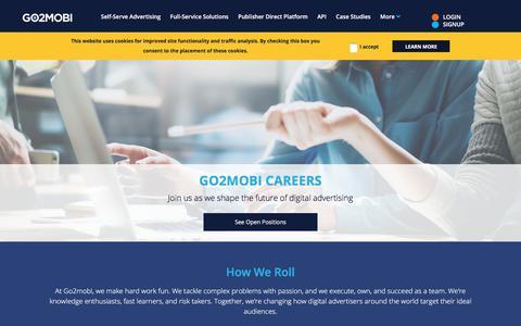 Screenshot of Jobs Page go2mobi.com - Go2mobi - Careers - captured July 21, 2018