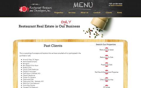 Screenshot of Blog therestaurantbroker.com - Past Clients - captured Oct. 26, 2014