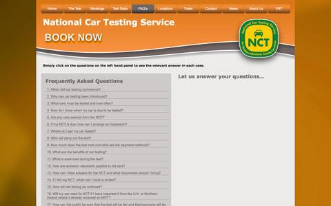Screenshot of FAQ Page ncts.ie - FAQ's - captured Oct. 31, 2014