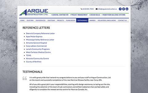 Screenshot of Testimonials Page argueconstruction.ca - Testimonials | Argue Construction - captured Nov. 21, 2016