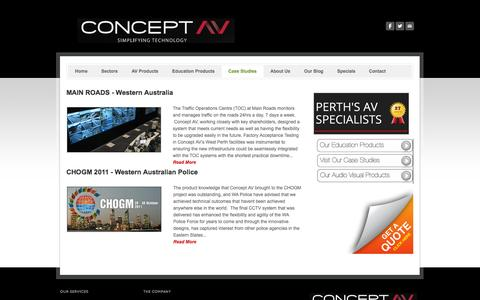 Screenshot of Case Studies Page conceptav.com.au - Audio Visual Supplier Perth - Concept AV - captured Sept. 30, 2014