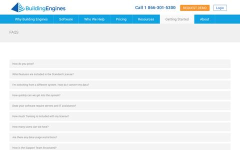 Screenshot of FAQ Page buildingengines.com - Frequently Asked Questions (FAQs) | Building Engines - captured Jan. 21, 2016