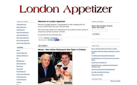 Screenshot of Home Page londonappetizer.com - London Restaurants | London Guide - captured Oct. 3, 2014