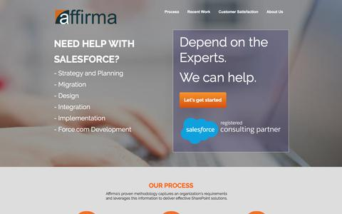 Screenshot of Landing Page affirmaconsulting.com - Affirma | Sharepoint Consulting - captured July 27, 2017