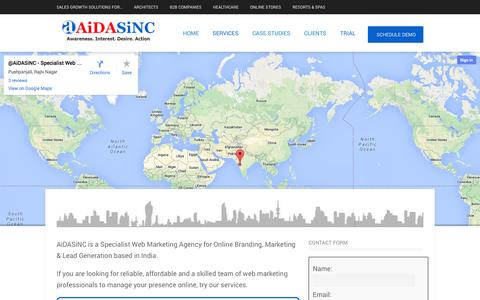 Screenshot of Contact Page aidasinc.com - Contact Us | Internet Marketing Company India - - captured Oct. 7, 2014