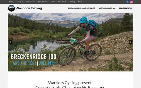 Screenshot of Home Page warriorscycling.com - Colorado Mountain Bike Races - Warriors Cycling - captured May 30, 2019