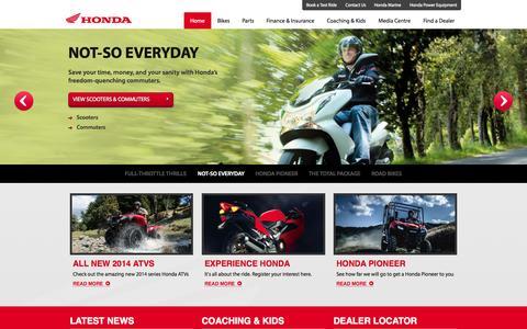 Screenshot of Home Page hondamotorbikes.co.nz - Home | Honda Motorcycles NZ - captured Oct. 5, 2014