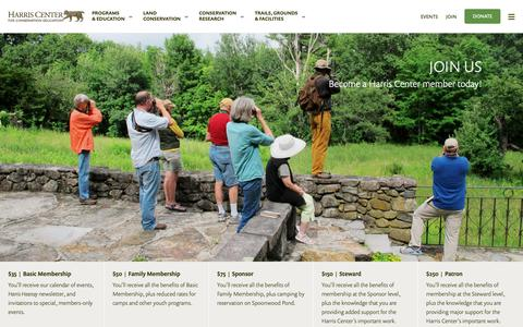 Screenshot of Signup Page harriscenter.org - Become a Member of the Harris Center for Conservation Education - captured Sept. 27, 2018
