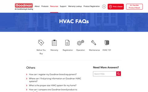 Screenshot of FAQ Page goodmanmfg.com - HVAC FAQs - captured May 30, 2017