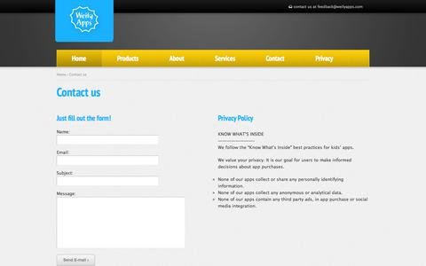 Screenshot of Privacy Page Contact Page weilyapps.com - Weily Apps | Contact - captured Oct. 26, 2014