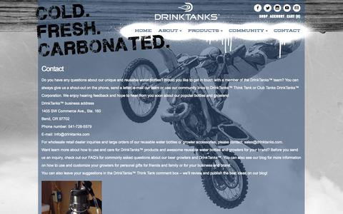 Screenshot of Contact Page drinktanks.com - Reusable Water Bottles   Drink Tanks - captured Sept. 30, 2014