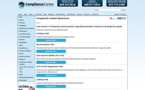 Screenshot of FAQ Page thecompliancecenter.com - FAQs | ICC - captured Aug. 6, 2017