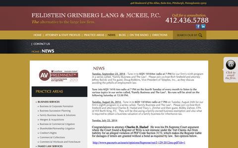 Screenshot of Press Page fglmlaw.com - News - captured Oct. 5, 2014