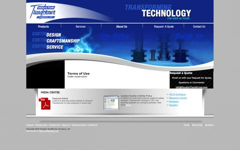 Screenshot of Terms Page houstontransformer.com - Houston Transformer - Terms of Use - captured Oct. 3, 2014