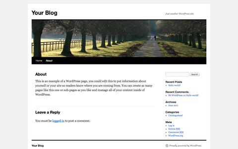 Screenshot of About Page sdbcisco.com - About | Your Blog - captured Oct. 3, 2014