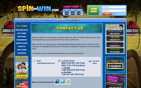 Screenshot of Contact Page spinandwin.com - Contact Us at Spin and Win - captured Sept. 19, 2014