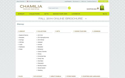 Screenshot of Site Map Page chamilia.com - Sitemap - Chamilia Online Shop - captured Sept. 22, 2014