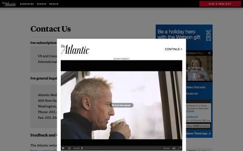 Screenshot of Contact Page theatlantic.com - Contact Us - The Atlantic - captured Nov. 27, 2015
