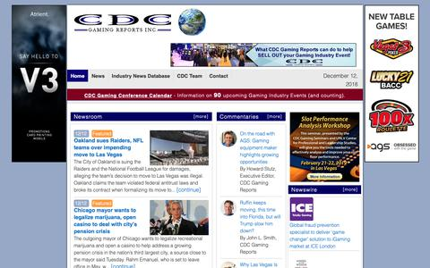 Screenshot of Home Page cdcgamingreports.com - Casino Gaming Industry News, Gambling, Racing, Las Vegas, Indian Gaming — Gaming Industry News Reports, Casino News, Ken Adams, CDC Gaming Reports - captured Dec. 12, 2018