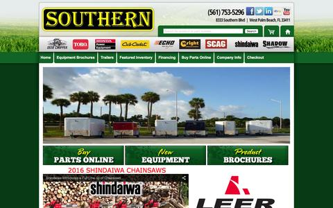 Screenshot of Home Page southernlawnequip.com - Southern Lawn Equipment |Residential and commercial riding lawn mowers sales, zero turn mower sales, Dixie chopper mowers, cub cadet mower sales, kawasaki. OFFERING FREE SHIPPING IN APRIL - captured Feb. 24, 2016
