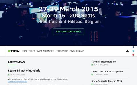Screenshot of Home Page thestorm.be - Storm - Gaming Events - captured Feb. 16, 2016
