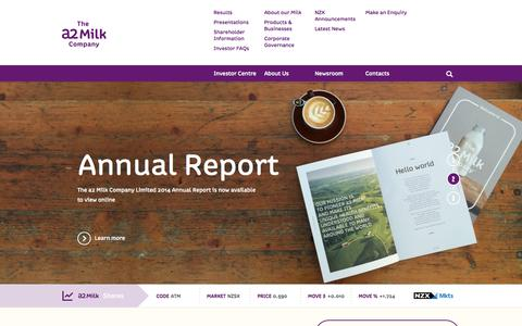 Screenshot of Home Page aboutthea2milkcompany.com - The a2 Milk Company™| a2 Milk™| shareholders & investors - captured Oct. 4, 2014