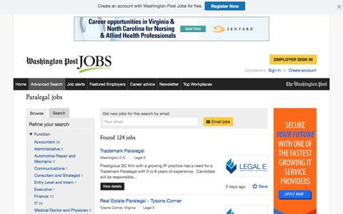 Screenshot of Jobs Page washingtonpost.com - Paralegal jobs - captured Oct. 30, 2016