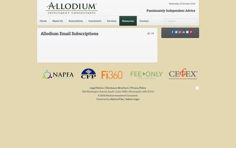 Screenshot of Signup Page aicria.com - Allodium Investment Consultants | Allodium Email Subscriptions - Allodium Investment Consultants - captured Oct. 3, 2018