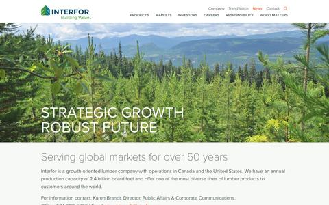 Screenshot of Press Page interfor.com - Serving global markets for over 50 years | Interfor - captured Sept. 30, 2014