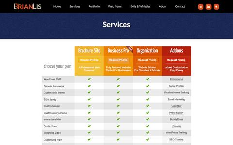 Screenshot of Services Page brianlis.com - Services - WordPress Consultant - captured Oct. 20, 2015