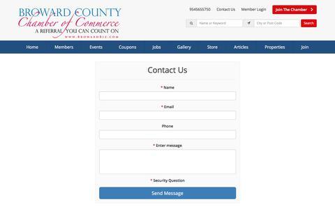 Screenshot of Contact Page browardbiz.com - Contact Us - Broward County Chamber of Commerce - captured Oct. 11, 2017