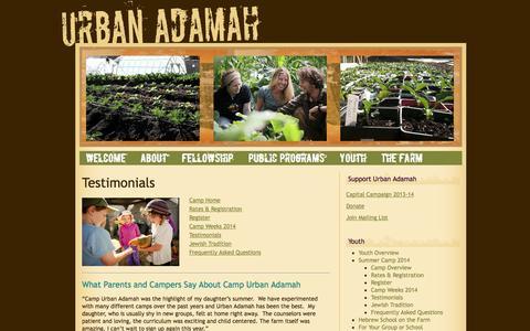 Screenshot of Testimonials Page urbanadamah.org - Testimonials «  Urban Adamah - captured Sept. 26, 2014