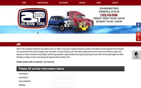 Screenshot of Jobs Page albantire.com - Jobs   Alban Tire in Springfield, VA - captured July 29, 2018