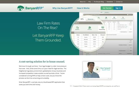 Screenshot of Home Page banyanrfp.com - BanyanRFP: A cost-saving solution for in-house counsel - captured Sept. 30, 2014