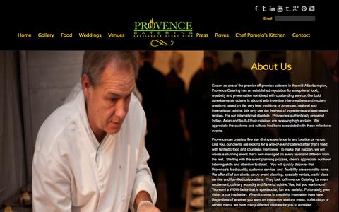 Screenshot of About Page provencecatering.com - Provence Catering About Us - Provence Catering - captured Sept. 30, 2014