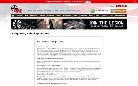Screenshot of FAQ Page impactguns.com - Impact Guns - faqs - captured Nov. 1, 2017