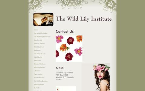 Screenshot of Contact Page emilyisaacsoninstitute.com - The Wild Lily Institute - Contact Us - captured Dec. 14, 2016
