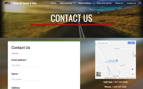 Screenshot of Contact Page google.com - Deluxe RV Service & Sales - Contact Us - captured Oct. 8, 2018