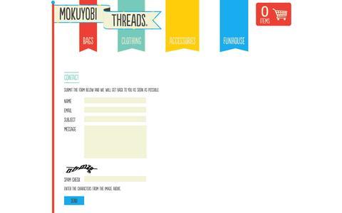 Screenshot of Contact Page mokuyobithreads.com - Mokuyobi Threads — Contact - captured Oct. 26, 2014